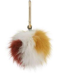 Yves Salomon Tri-colour Fox Keyring - White