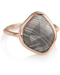 Monica Vinader - Siren Nugget Grey Agate Stacking Ring - Lyst