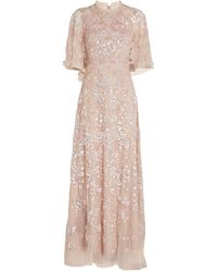 Needle & Thread Caped Sequin Ribbon Gown - Pink