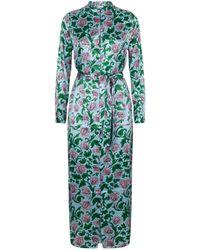 YOLKE Floral Silk Nightgown - Green