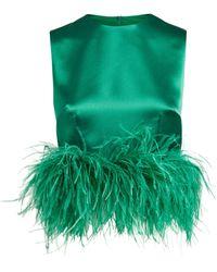 16Arlington Dickinson Feather-trim Top - Green