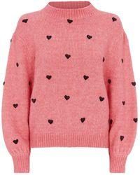 RIXO London Ariana Heart Sweater - Pink