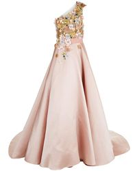 Marchesa | Satin Floral Embellished Asymmetric Gown | Lyst