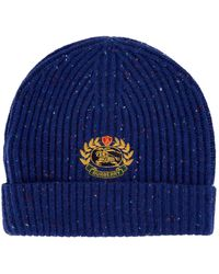 Burberry - Crest Embroidered Beanie Hat - Lyst