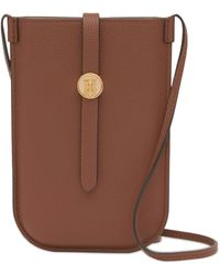 Burberry Leather Anne Phone Case With Strap - Brown