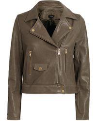 ME+EM Leather Biker Jacket - Grey