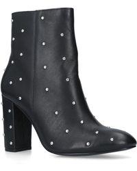 Kurt Geiger Swiss Studded Leather Ankle Boots - Black