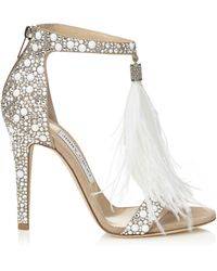 Jimmy Choo Women's Viola Crystal-embellished & Feathered Sandals - White