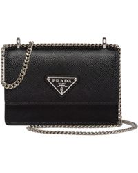 Prada Leather Card Holder With Chain - Black