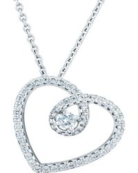 De Beers - White Gold And Micropav Diamond Heart Pendant Necklace - Lyst