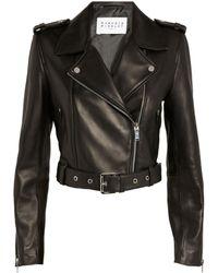 Claudie Pierlot Leather Biker Jacket - Black