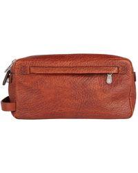 Brunello Cucinelli Leather Zip Bag - Brown