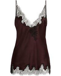 Carine Gilson Silk Lace-trim Camisole - Purple