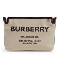 Burberry Medium Horseferry Canvas Clutch - Brown