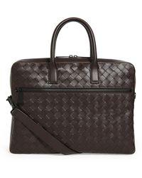 Bottega Veneta Leather Intrecciato Briefcase - Brown
