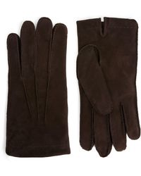 Eleventy Fur-lined Suede Gloves - Brown