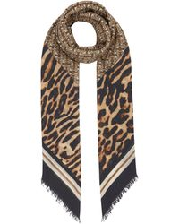 Burberry Monogram Animal Print Scarf - Natural