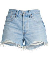 Levi's Frayed-hem Denim Shorts - Blue