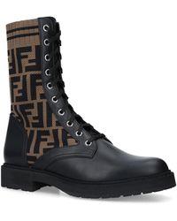 Fendi Logo Combat Boots - Black