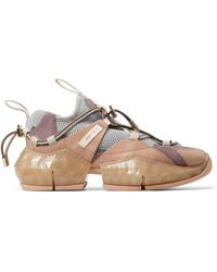 Jimmy Choo - Diamond Trail Leather Mesh Sneakers - Lyst