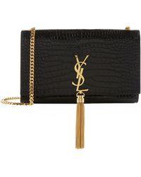 Saint Laurent Medium Croc Kate Monogram Tassel Shoulder Bag - Black