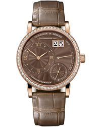 A. Lange & Sohne Rose Gold And Diamond Little Lange 1 Watch 36.8mm - Brown