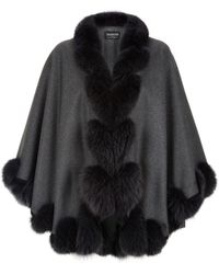 Harrods Fox Fur Spiral Trim Cape - Black