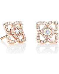 De Beers - Medium Rose Gold Enchanted Lotus Stud Earrings - Lyst