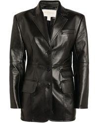 Matériel Faux Leather Blazer - Black
