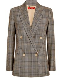 MAX&Co. Double-breasted Check Blazer - Natural