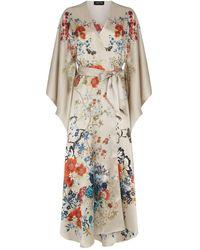 Meng Printed Silk Kimono Robe - Natural