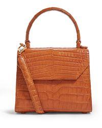 Nancy Gonzalez Crocodile Lily Top Handle Bag - Brown
