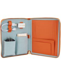 Stow Leather The First Class Tech Case - Orange