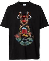 Burberry Mermaid Print Oversized T-shirt - Black