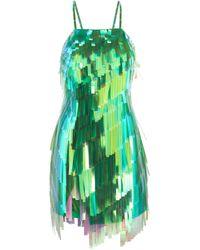 The Attico Strappy Sequin Mini Dress - Green