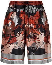 Meng - Silk Floral Print Lounge Shorts - Lyst
