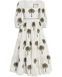 Agua by Agua Bendita Embroidered Palm Miel Dress - White