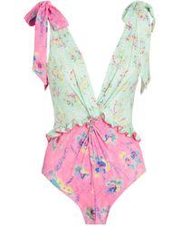 LoveShackFancy Floral Demeter Swimsuit - Pink