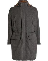 Brunello Cucinelli Cashmere Longline Hooded Parka - Grey
