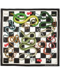 Halcyon Days Silk Snakes And Ladders Scarf - Black