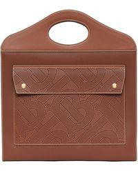 Burberry Leather Tb Monogram Pocket Bag - Brown