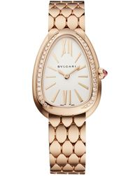 BVLGARI Serpenti Seduttori 18ct Pink-gold And Diamond Watch - Metallic