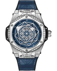 Hublot Stainless Steel And Diamond Big Bang One Click Sang Bleu Watch 39mm - Blue
