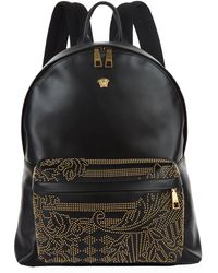 Versace - Leather Studded Medusa Backpack - Lyst