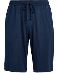 Hanro Cotton Lounge Shorts - Blue