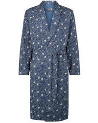 Hanro Cotton Floral Print Robe - Blue