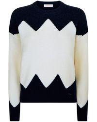 Tory Burch - Hannah Zig Zag Sweater, Navy, M - Lyst