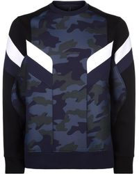 Neil Barrett - Camouflage Zip Side Sweatshirt - Lyst