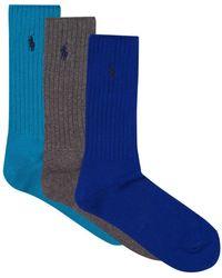 Polo Ralph Lauren - Ribbed Crew Socks (pack Of 3) - Lyst