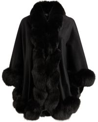Harrods Cashmere Fox Fur-trim Cape - Black